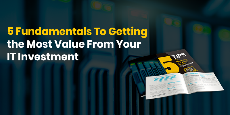 Servers in the background representing the five fundamentals to managing IT for Business Value