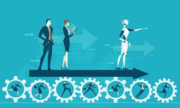 A robot guiding an organization to scale RPA avoiding pitfalls.