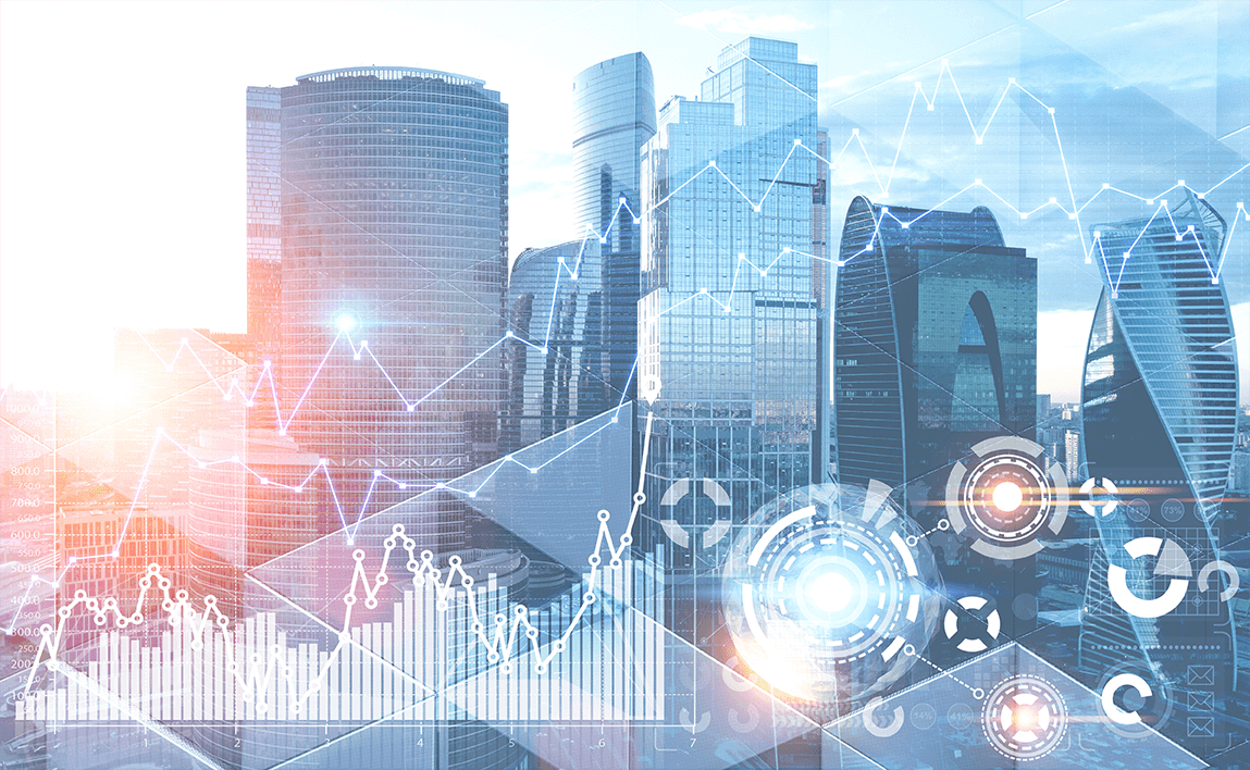Technology city background due the Benefits of Digital Transformation in Organizations.