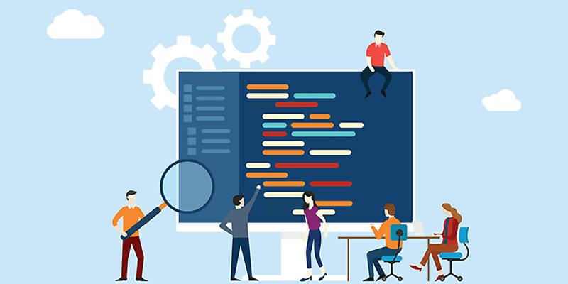Programmer team working together after Outsourcing.DevOps to Latin America