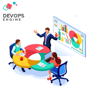 Employees  discussing the benefits of DevOps outsourcing
