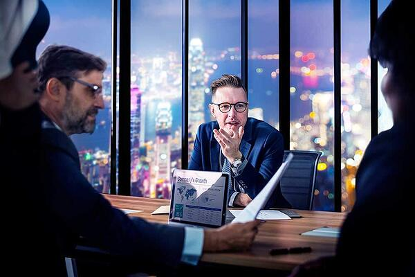 A CFO in a meeting