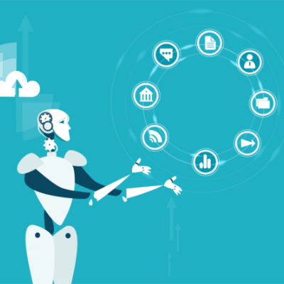 A robot performing different repetitive tasks enabling business transformation