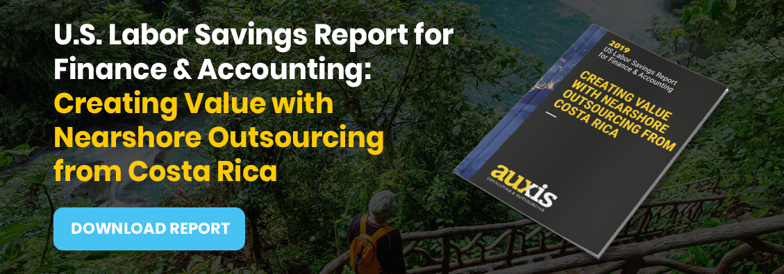 Invitation to download Auxis' report: US Finance Outsourcing Cost Savings Report. Creating Value with Nearshore Outsourcing from Costa Rica.