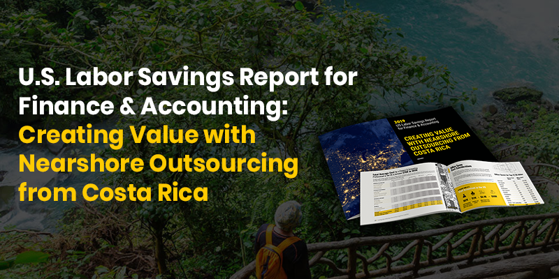Preview of Auxis' US Finance Outsourcing Cost Savings Report from Costa Rica with trees in the background.