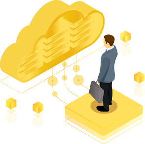 A businessman standing on a hard drive in front of a golden cloud representing and effective Cloud Transformation