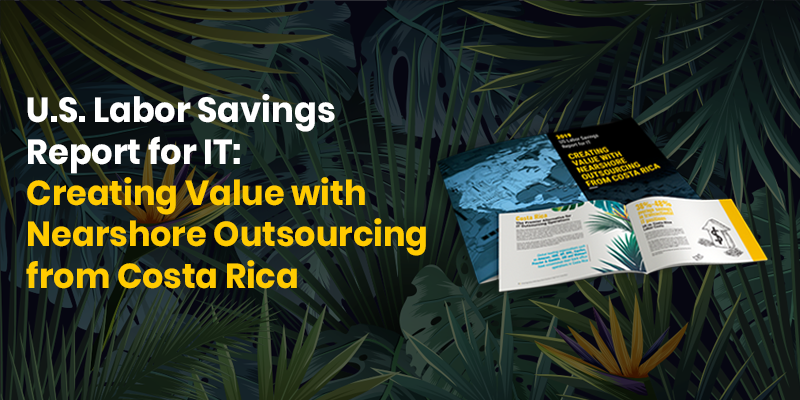 Preview of the US IT Outsourcing Cost Savings Report with green leaves in the background.