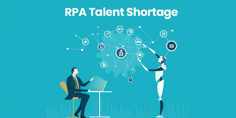 A robot showing different RPA Talents shortage in the industry and can be solve by Nearshoring