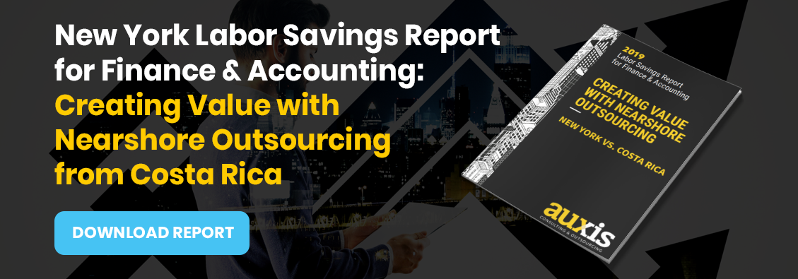 Invitation to download Auxis' report: NY Finance Outsourcing Labor Cost Saving Report. Creating Value with Nearshore Outsourcing from Costa Rica