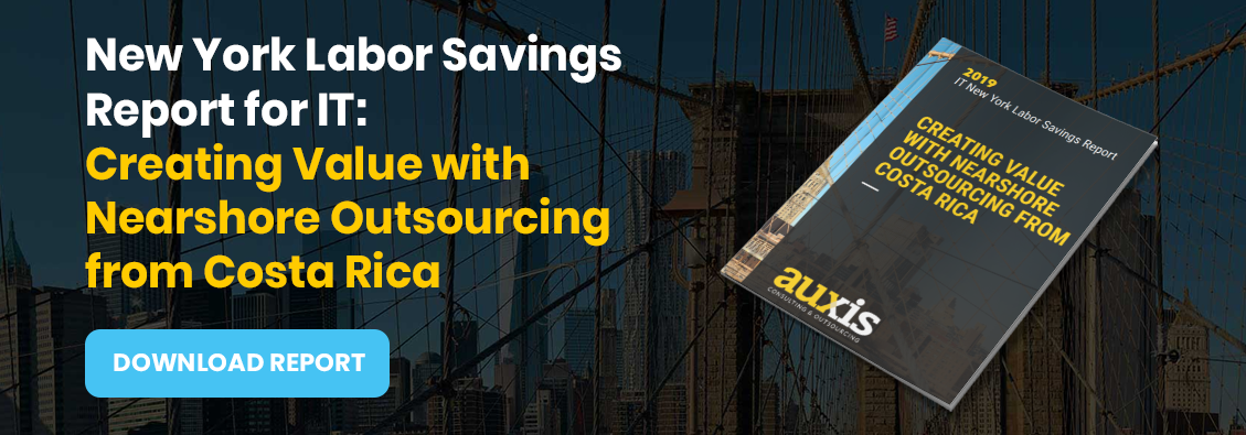 Invitation to download Auxis' report: NY IT Labor Cost Savings Report: Creating value with Nearshore Outsourcing form Costa Rica