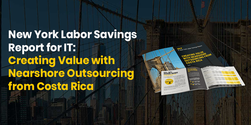 Preview of the NY IT Labor Cost Savings Report with a bridge in the background.