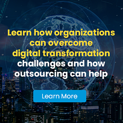 Invitation to read Auxis' blog: Learn how organizations can overcome digital transformation challenges and how outsourcing can help.