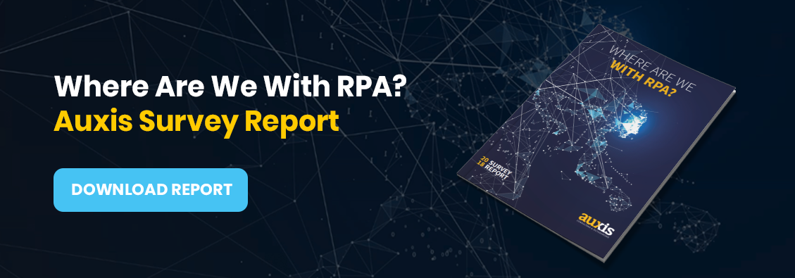 Invitation to download Auxis' RPA Adoption Statistics Survey Report: Where Are We With RPA?