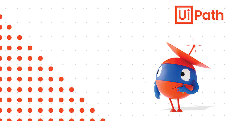 Red and blue mascot representing UiPath Hyperautomation Robot