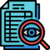 Magnifying glass icon over a paper: Better Prepared for Audits due to automation in banking compliance providing instant access to the information.