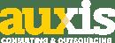 auxis_logo yellow and white_white tagline
