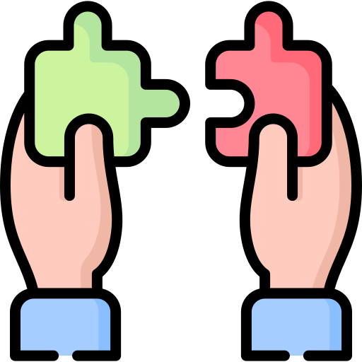 Hands joining puzzle jigsaw icon: Implementing an active directory solution.