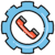 Phone inside a gear icon: The Addition of 24x7 Quality Auxis Help Desk Outsourcing Services