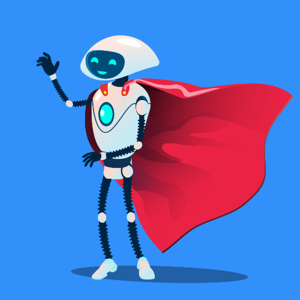 A smiling robot with a red cape celebrates accelerating ROI for RPA.