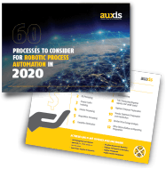 Auxis Infographic titled: 60 processes to consider for RPA.