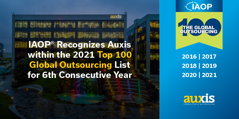 IAOP® Recognizes Auxis within the 2021 Top 100 Outsourcing Companies List for 6th Consecutive Year