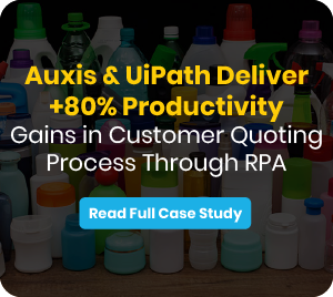 Advertisement about the case study: Auxis & UiPath Deliver +80% Productivity Gains in Customer Quoting Process Through RPA
