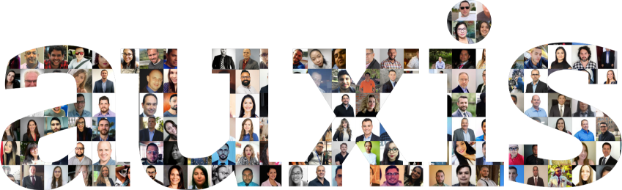 Auxis logo with different people inside it
